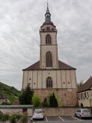 Eglise Saint-Pierre-et-Paul dite Sainte-Richarde -  Alsace, Bas-Rhin, Andlau, Église Saints-Pierre-et-Paul dite Sainte-Richarde (PA00084587, IA00115010).  Façade occidentale.