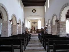Eglise Dompeter -  Alsace, Bas-Rhin, Avolsheim, Molsheim, Église Saint-Pierre dite Dompeter (PA00084594, IA67006175).  Vue intérieure de la nef vers le chœur.