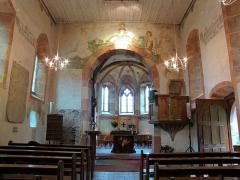 Eglise protestante (ancienne église catholique) -  Alsace, Bas-Rhin, Baldenheim, Église protestante (PA00084595, IA67010725).  Vue intérieure de la nef vers le chœur.