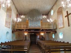 Eglise protestante (ancienne église catholique) -  Alsace, Bas-Rhin, Baldenheim, Église protestante (PA00084595, IA67010725).  Vue intérieure de la nef vers la tribune d'orgue.