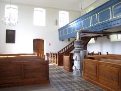 Eglise protestante -  Alsace, Bas-Rhin, Église protestante de Berg (PA00084611, IA67000743): Vue intérieure (bancs et poêle).