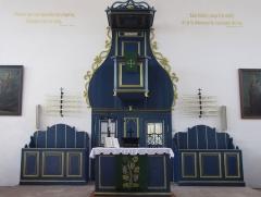 Eglise protestante -  Alsace, Bas-Rhin, Église protestante de Berg (PA00084611, IA67000743): Autel-chaire protestant.