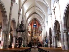 Eglise catholique Notre-Dame -  Alsace, Bas-Rhin, Église Notre-Dame de l'Assomption de Bernardswiller (PA00084612, IA00023770).  Vue intérieure de la nef vers le chœur.