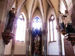 Eglise catholique Notre-Dame -  Alsace, Bas-Rhin, Église Notre-Dame de l'Assomption de Bernardswiller (PA00084612, IA00023770).   Chapelle et statues de St-Antoine de Padoue, St-Joseph, St-Louis de Gonzague, St-Charles Borromée.