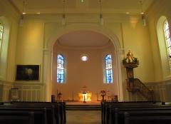 Eglise protestante -  Alsace, Bas-Rhin, Église protestante de Notre Seigneur Jésus-Christ de Bischheim (PA00084621).  Vue intérieure de la nef vers le chœur.