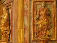 Eglise protestante -  Alsace, Bas-Rhin, Église protestante de Notre Seigneur Jésus-Christ de Bischheim (PA00084621).  Chaire baroque (1789): Statue de St-Luc.