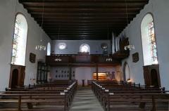 Couvent de Bischenberg (église catholique Notre-Dame) -  Alsace, Bas-Rhin, Bischoffsheim, Couvent de Bischenberg (PA00084622, IA00075456).  Chapelle Notre-Dame-des Sept-Douleurs: Vue intérieure vers la tribune.