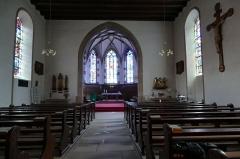 Couvent de Bischenberg (église catholique Notre-Dame) -  Alsace, Bas-Rhin, Bischoffsheim, Couvent de Bischenberg (PA00084622, IA00075456).  Chapelle Notre-Dame-des Sept-Douleurs: Vue intérieure de la nef vers le chœur gothique.