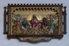 Couvent de Bischenberg (église catholique Notre-Dame) -  Alsace, Bas-Rhin, Bischoffsheim, Couvent de Bischenberg (PA00084622, IA00075456).  Chapelle Notre-Dame-des Sept-Douleurs: Bas-relief