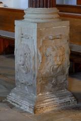 Couvent de Bischenberg (église catholique Notre-Dame) -  Alsace, Bas-Rhin, Bischoffsheim, Couvent de Bischenberg (PA00084622, IA00075456).  Chapelle Notre-Dame-des Sept-Douleurs: Base de colonne de la tribune (reliefs de lions).