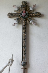 Chapelle de Saint-Sébastien - Alsace, Bas-Rhin, Chapelle Saint-Sébastien de Dambach-la-Ville (PA00084677, IA00115228).  Croix de procession avec les Cinq plaies du Christ (1820):       This object is indexed in the base Palissy, database of the French furniture patrimony of the French ministry of culture, under the reference IM67005509. brezhoneg | català | Deutsch | English | español | français | italiano | magyar | македонски | Plattdüütsch | português | suomi | +/−