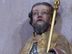 Eglise Sainte-Trophime et quatre statues en bois sculptées - Alsace, Bas-Rhin, Église Saint-Trophime d'Eschau (PA00084707, IA00023089).  Statue de Saint Trophime d'Arles (XVIIIe):       This object is inscrit Monument Historique in the base Palissy, database of the French furniture patrimony of the French ministry of culture,under the referencesPM67001256 and IM67000127. brezhoneg| català| Deutsch| English| español| français| italiano| magyar| македонски| Plattdüütsch| português| suomi| +/−