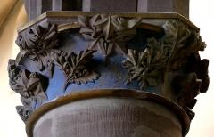 Eglise Saint-Nicolas - Alsace, Bas-Rhin, Église Saint-Nicolas de Haguenau, (Ancienne église du Couvent des Prémontrés) (PA00084725, IA00061903). Chapiteau gothique à feuillages.