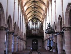 Eglise Saint-Nicolas - Alsace, Bas-Rhin, Église Saint-Nicolas de Haguenau, (Ancienne église du Couvent des Prémontrés) (PA00084725, IA00061903).  Vue intérieure de la nef vers la tribune d'orgue.