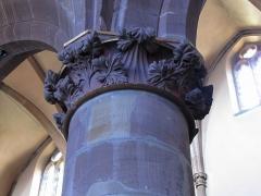Eglise Saint-Nicolas - Alsace, Bas-Rhin, Église Saint-Nicolas de Haguenau, (Ancienne église du Couvent des Prémontrés) (PA00084725, IA00061903). Chapiteau gothique d'un pilier de la nef.