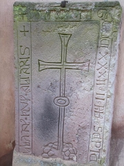 Eglise Saint-Pierre-et-Paul - Alsace, Bas-Rhin, Église Saints-Pierre-et-Paul de Hohatzenheim (PA00084751, IA67009140).  Dalle funéraire (1322):      This object is indexed in the base Palissy, database of the French furniture patrimony of the French ministry of culture,under the referenceIM67013000. brezhoneg| català| Deutsch| English| español| français| italiano| magyar| македонски| Plattdüütsch| português| suomi| +/−