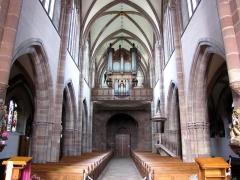 Ancienne abbaye bénédictine - Alsace, Bas-Rhin, Abbatiale Saint-Étienne de Marmoutier (PA00084783, IA67007715).  Vue intérieure de la nef vers la tribune d'orgue.