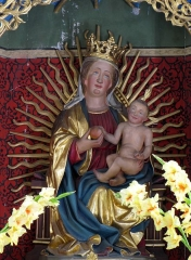 Cimetière - Français:   Alsace, Bas-Rhin, Marmoutier, Chapelle de cimetière Saint-Denis (PA00084785, IA67007725).  Autel-retable polyptique (XVe): Statue \