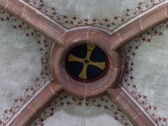 Ancienne abbaye bénédictine -  Alsace, Bas-Rhin, Neuwiller-lès-Saverne, Église abbatiale Saints-Pierre et Paul (PA00084820, IA67009917: Clé de voûte gothique de la nef (XIIIe).
