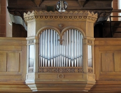 Eglise Saint-Adelphe - This object is classé Monument Historique in the base Palissy, database of the French furniture patrimony of the French ministry of culture,under the referencesPM67001059, IM67014299 and instrument PM67000463 instrument.
