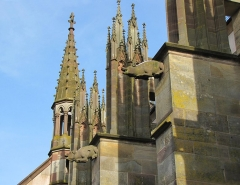 Eglise catholique Saint-Florent -  Alsace, Bas-Rhin, Niederhaslach, Collégiale Saint-Florent: (PA00084831, IA67011296, IA67011295): Gargouilles façade nord.