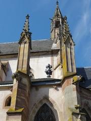 Eglise catholique Saint-Florent -  Alsace, Bas-Rhin, Niederhaslach, Collégiale Saint-Florent: (PA00084831, IA67011296, IA67011295): Pinacles et tour de croisée.