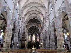 Eglise paroissiale Saint-Pierre-et-Paul -  Alsace, Bas-Rhin, Obernai, Église Saints-Pierre-et-Paul (PA00084850, IA00023930): Vue intérieure de la nef vers le chœur.