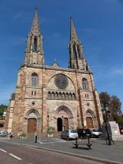 Eglise paroissiale Saint-Pierre-et-Paul -  Alsace, Bas-Rhin, Obernai, Église Saints-Pierre-et-Paul (PA00084850, IA00023930): Façade occidentale.