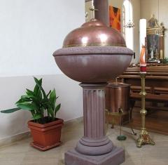 Eglise catholique Saint-Maurice -  Alsace, Bas-Rhin, Orschwiller, Église Saint-Maurice (PA00084876, IA00124520): Fonts baptismaux.