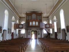 Eglise catholique Saint-Maurice -  Alsace, Bas-Rhin, Orschwiller, Église Saint-Maurice (PA00084876, IA00124520): Vue intérieure de la nef vers la tribune d'orgue.
