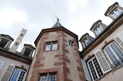 Château -  Alsace, Bas-Rhin, Osthoffen, Château (XVIe-XIXe) (PA00084877, IA67005654): tourelle d'escalier.