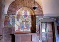 Monastère de Sainte-Odile, au Mont-Saint-Odile -  Alsace, Bas-Rhin, Ottrott, Couvent du Mont Sainte-Odile (PA00084884, IA00075612): Cloître, Fresques (XXe) de Robert Gall (1904-1974), selon Hortus Deliciarum.