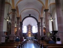 Monastère de Sainte-Odile, au Mont-Saint-Odile -  Alsace, Bas-Rhin, Ottrott, Basilique du Mont Sainte-Odile (PA00084884, IA00075612): Vue intérieure de la nef.