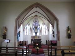 Chapelle Sainte-Marie-du-Chêne ou Notre-Dame-du-Chêne -  Alsace, Bas-Rhin, Plobsheim, Chapelle Notre-Dame du Chêne, Appartement du Waldbruder (1812): (PA00084895, IA00023121): Vue intérieure de la chapelle vers le chœur.