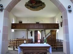 Chapelle Sainte-Marie-du-Chêne ou Notre-Dame-du-Chêne -  Alsace, Bas-Rhin, Plobsheim, Chapelle Notre-Dame du Chêne, Appartement du Waldbruder (1812): (PA00084895, IA00023121): Vue intérieure vers la tribune.