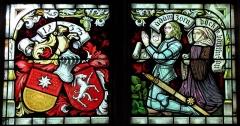 Chapelle Sainte-Marie-du-Chêne ou Notre-Dame-du-Chêne -  Alsace, Bas-Rhin, Plobsheim, Chapelle Notre-Dame du Chêne, Appartement du Waldbruder (1812): (PA00084895, IA00023121): Détails d'une verrière du chœur