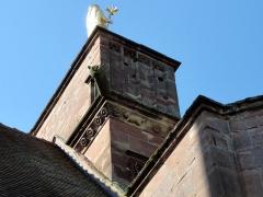 Eglise catholique de Reinacker -  Alsace, Bas-Rhin, Reutenbourg, Couvent de Reinacker, Église de la Vierge et de la Sainte-Croix (PA00084902, IA67007633): Frise néo-romane et gargouille.