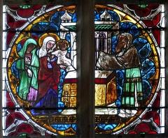 Eglise catholique de l'Assomption-de-la-Vierge - Alsace, Bas-Rhin, Rosenwiller, Église Notre-Dame de l'Assomption (PA00084907, IA00075624).   Verrière du chœur