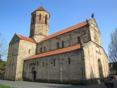Eglise Saint-Pierre-et-Paul -  Alsace, Bas-Rhin, Rosheim, Église romane Saints-Pierre-et-Paul (XIIe) (PA00084909, IA00075638).
