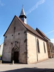 Eglise collégiale Saint-Blaise -  Alsace, Bas-Rhin, Sarrewerden, Église Saint-Barthélemy (ancienne Collégiale Saint-Blaise) (PA00084945, IA67005982): Façades côté sud et ouest avec le portail d'entrée.