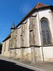 Eglise collégiale Saint-Blaise -  Alsace, Bas-Rhin, Sarrewerden, Église Saint-Barthélemy (ancienne Collégiale Saint-Blaise) (PA00084945, IA67005982): Façade sud avec les contreforts.