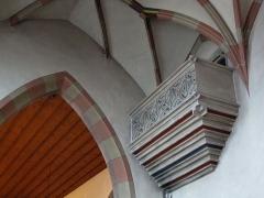 Eglise collégiale Saint-Blaise -  Alsace, Bas-Rhin, Sarrewerden, Église Saint-Barthélemy (ancienne Collégiale Saint-Blaise) (PA00084945, IA67005982): Ancien balcon des comtes dans le chœur.