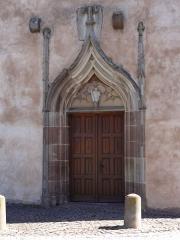 Eglise collégiale Saint-Blaise -  Alsace, Bas-Rhin, Sarrewerden, Église Saint-Barthélemy (ancienne Collégiale Saint-Blaise) (PA00084945, IA67005982): Portail gothique de la façade occidentale.