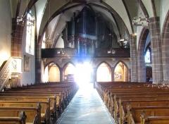 Eglise paroissiale Notre-Dame-de-la-Nativité -  Alsace, Bas-Rhin, Saverne, Église Notre-Dame-de-la-Nativité (PA00084954, IA00055464): Vue intérieure de la nef vers la tribune d'orgue.