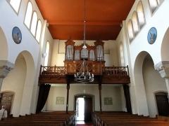 Eglise protestante de Scharrachbergheim -  Alsace, Bas-Rhin, Scharrachbergheim, Église protestante (PA00084969, IA67007003): Vue intérieure de la nef vers la tribune d'orgue.