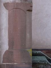 Eglise protestante de Scharrachbergheim -  Alsace, Bas-Rhin, Scharrachbergheim, Église protestante (PA00084969, IA67007003): Pierre commémorative (1737).