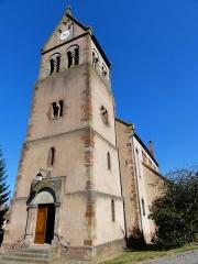 Eglise protestante de Scharrachbergheim -  Alsace, Bas-Rhin, Scharrachbergheim, Église protestante (PA00084969, IA67007003): toit du clocher roman en bâtière.
