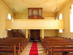 Eglise d'Offenheim -  Alsace, Bas-Rhin, Offenheim, Église Saint-Arbogast (PA00085199, IA67000977): Vue intérieure de la nef vers la tribune de l'orgue.