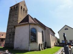 Eglise d'Offenheim -  Alsace, Bas-Rhin, Offenheim, Église Saint-Arbogast (PA00085199, IA67000977): Clocher du XVe et chevet.