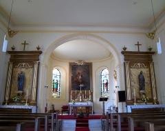 Eglise d'Offenheim -  Alsace, Bas-Rhin, Offenheim, Église Saint-Arbogast (PA00085199, IA67000977): Vue intérieure de la nef vers le chœur.